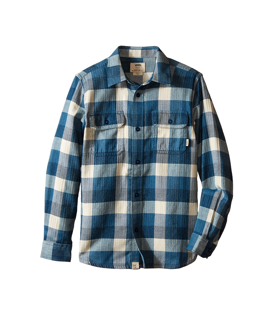 Vans Kids - Alameda (Big Kids) (Poseidon/Blue Ashes) Boy's Long Sleeve Button Up