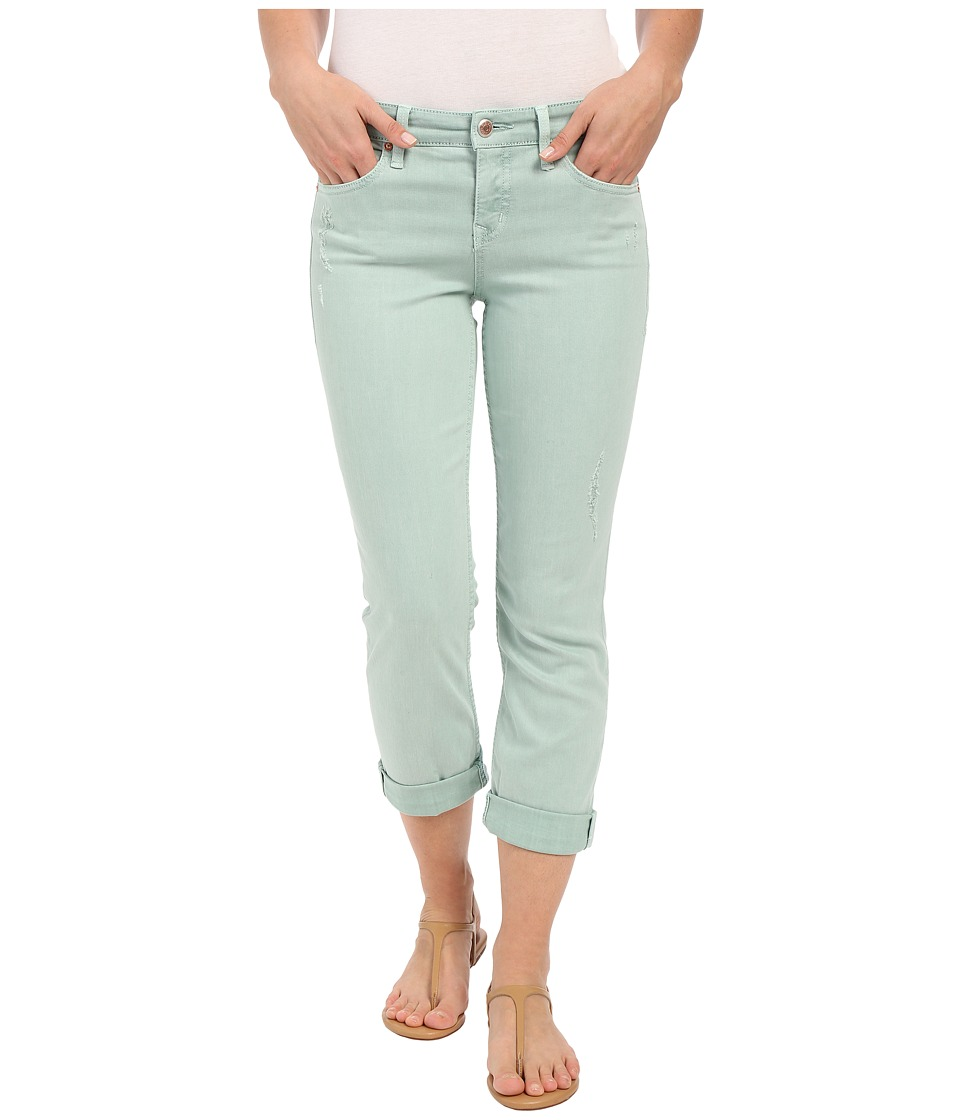 Level 99 - Lily Mid-Rise Crop Rollup in Mint Destruction (Mint Destruction) Women's Jeans