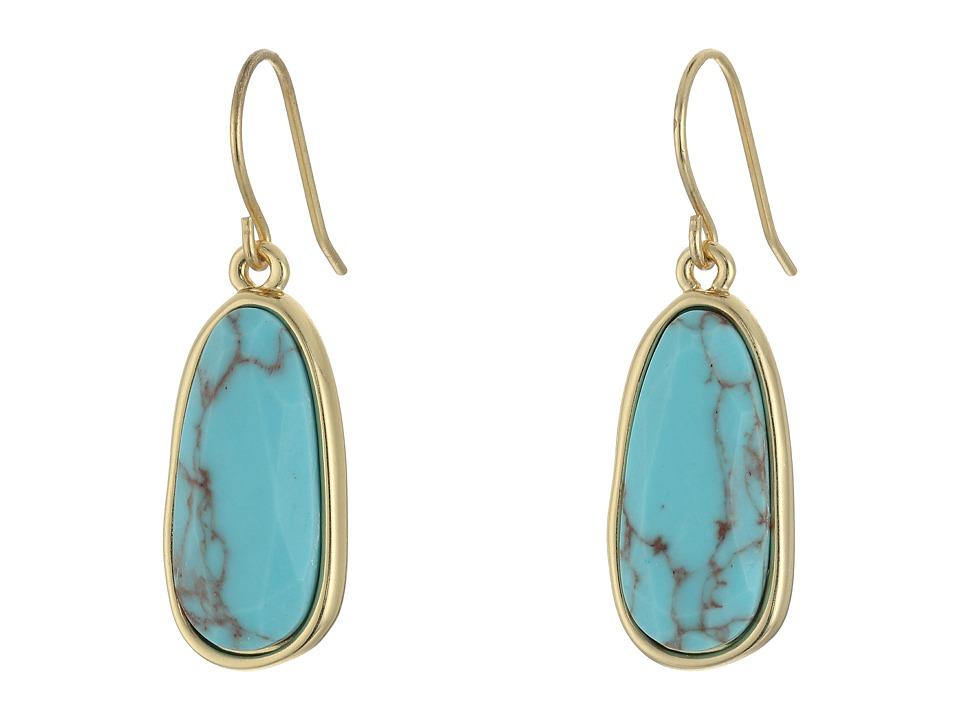 LAUREN Ralph Lauren - Pink Sands Organic Stone Drop Earrings (Turquoise/Gold) Earring