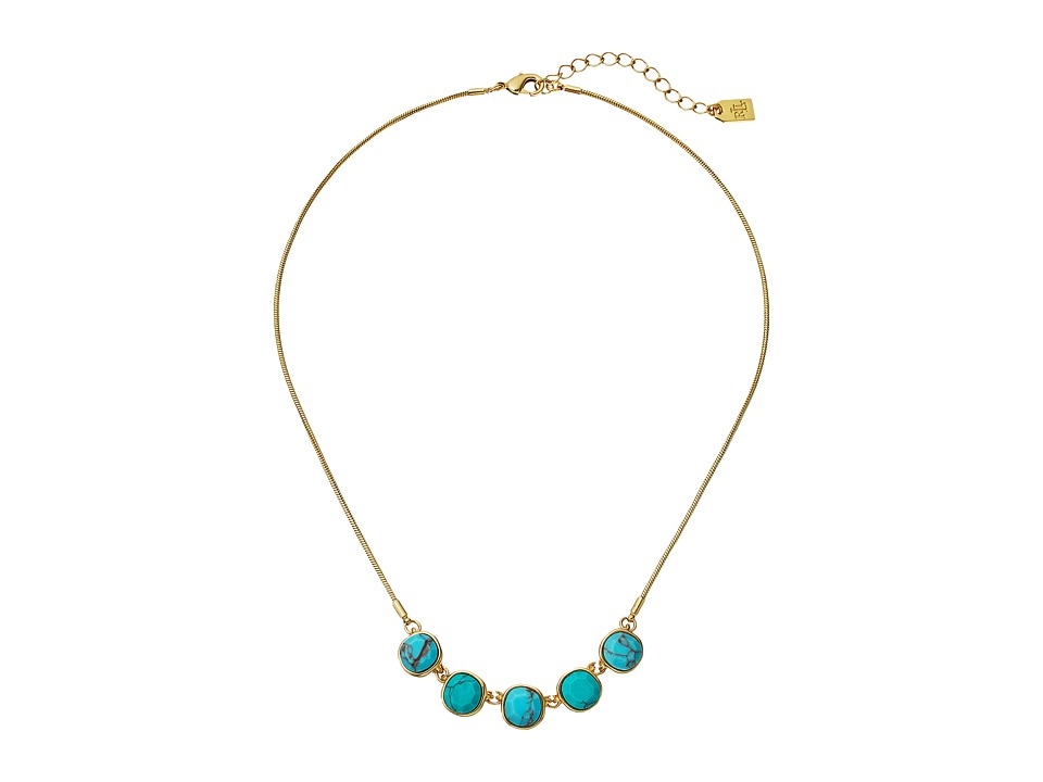 LAUREN Ralph Lauren - Pink Sands 16 Stone Frontal Necklace (Turquoise/Gold) Necklace