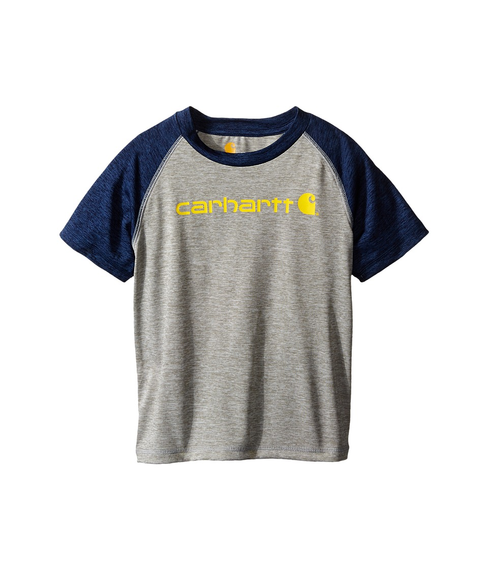 Carhartt Kids - Force Raglan Tee (Toddler) (Grey Heather/Insignia Blue) Boy's T Shirt