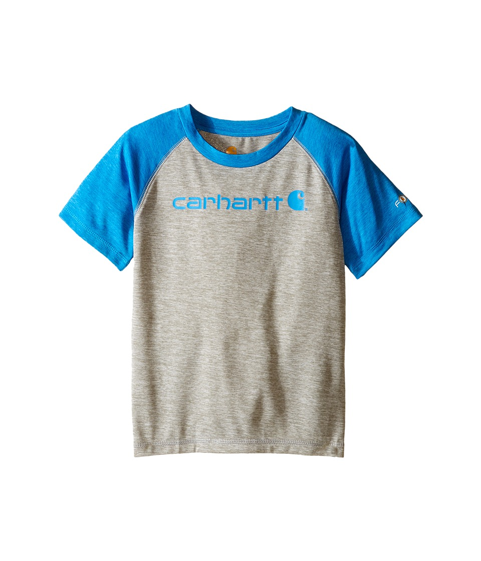 Carhartt Kids - Force Raglan Tee (Toddler) (Grey Heather/Blithe) Boy's T Shirt