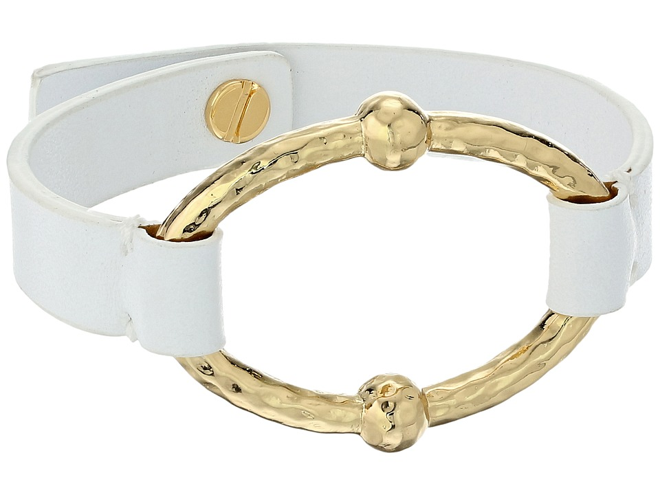 LAUREN Ralph Lauren - Bali Leather Metal Link Bracelet (Gold 2) Bracelet
