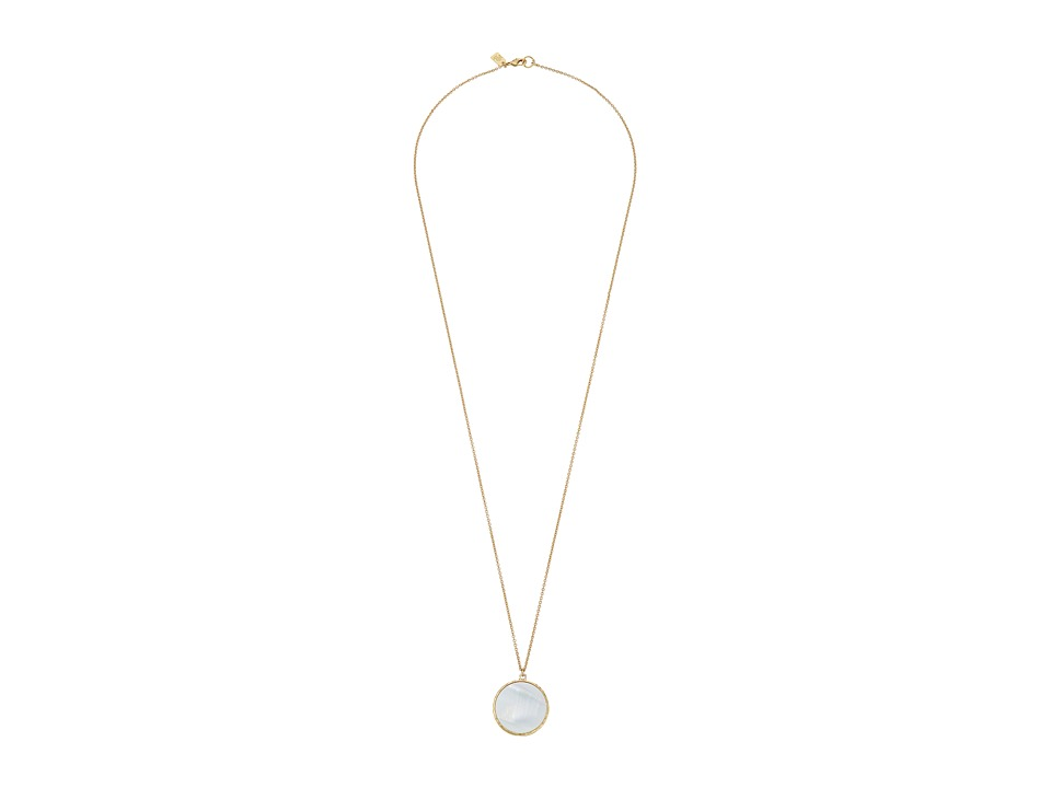 LAUREN Ralph Lauren - Summer Chic 32 Chain Disk Pendant Necklace (Mother-of-Pearl/Gold) Necklace