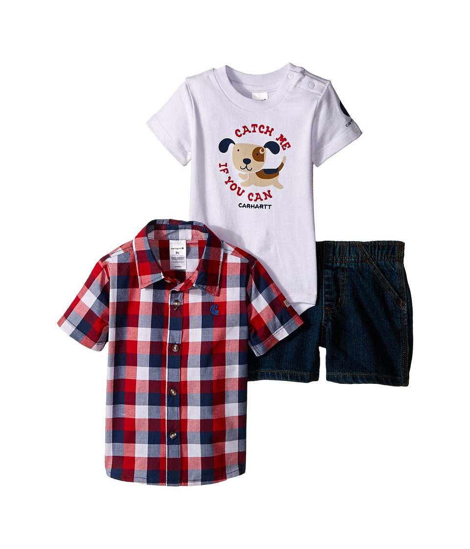Carhartt Kids - Three-Piece Gift Short Set (Infant) (Worn In Blue) Boy
