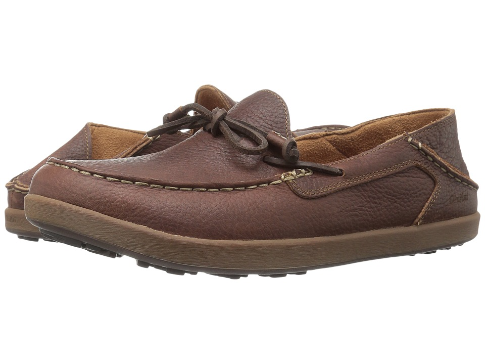 OluKai - Huli (Dark Wood/Dark Wood) Men's Slip on Shoes
