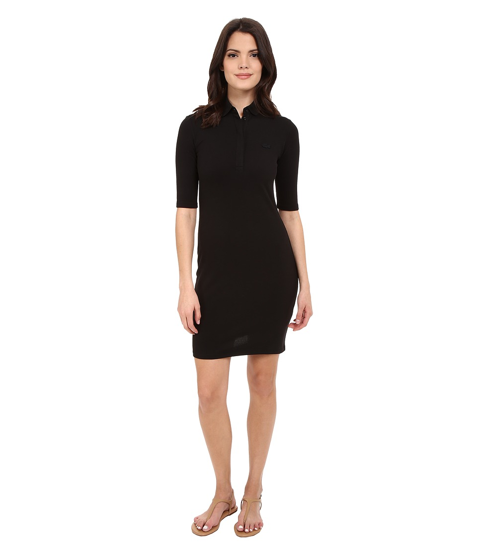Lacoste - Half Sleeve Pique Polo Dress (Black) Women's Dress