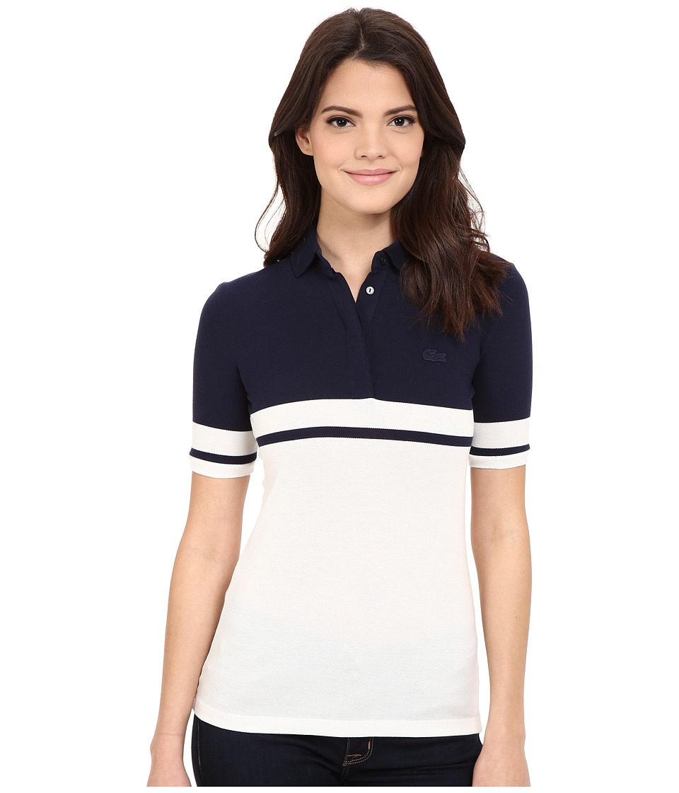 Lacoste - Half Sleeve Color Block Polo Shirt (Navy Blue/Cliff) Women