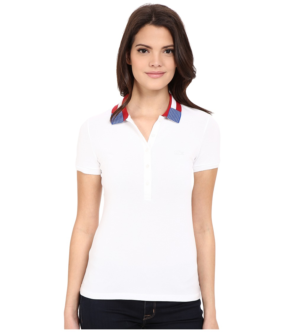 Lacoste - Short Sleeve Slim Fit Nations Polo Shirt (White) Women's Short Sleeve Pullover