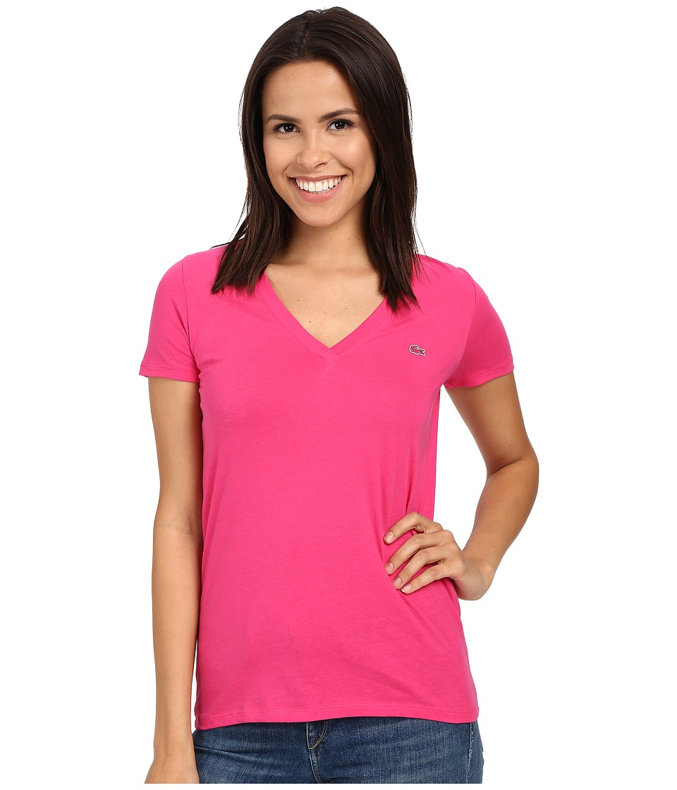 Lacoste - Short Sleeve Cotton Jersey V-Neck Tee Shirt (Bright Berry Pink) Women's Short Sleeve Pullover