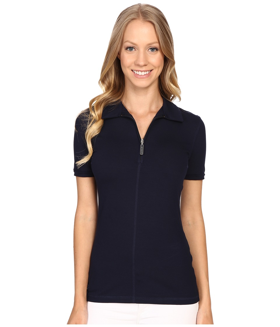 Lacoste - Short Sleeve Stretch Jersey Zip Polo (Navy Blue) Women's Short Sleeve Pullover