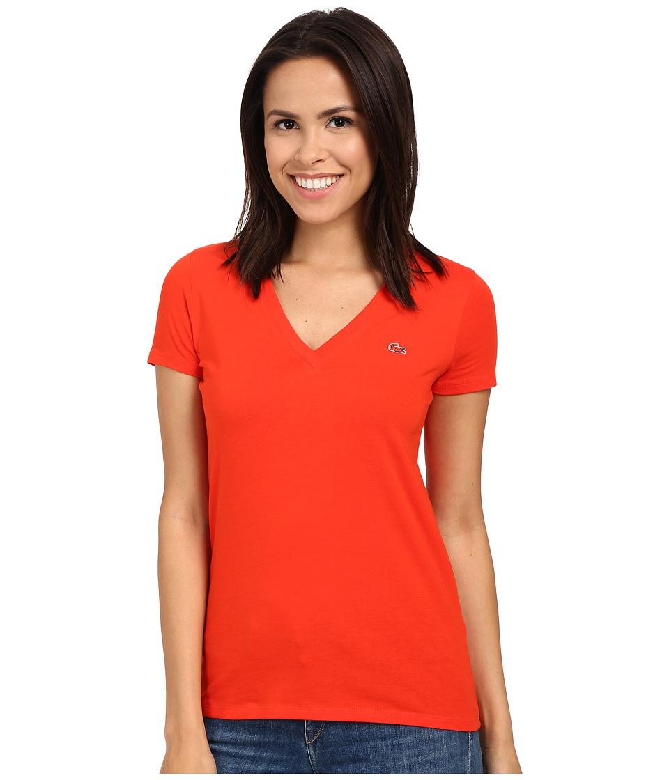 Lacoste - Short Sleeve Cotton Jersey V-Neck Tee Shirt (Lust Red) Women's Short Sleeve Pullover
