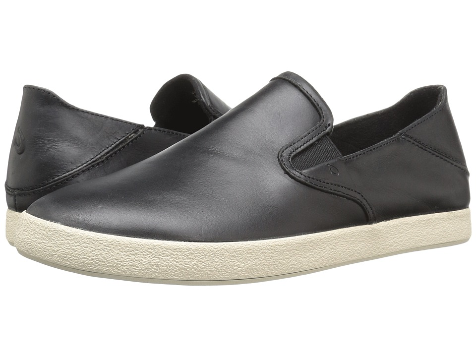 OluKai - Makani Leather (Black/Black) Men's Slip on Shoes