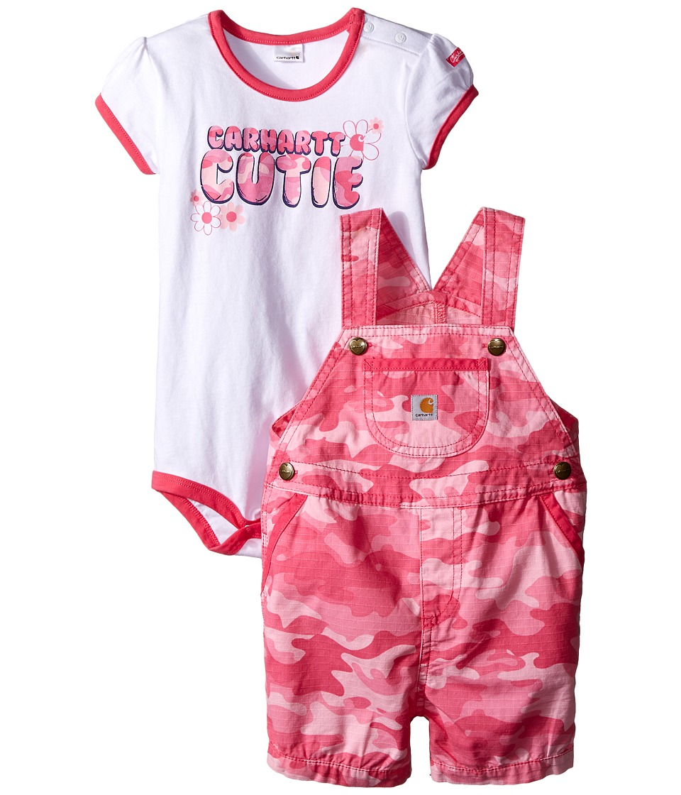 Carhartt Kids - Camo Ripstop Shortall Set (Infant) (Pink Camo) Girl's Active Sets