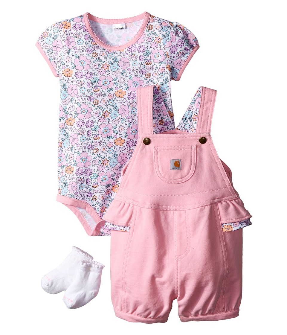 Carhartt Kids - Three-Piece Gift Shortall Set (Infant) (Pale Peony) Girl's Active Sets