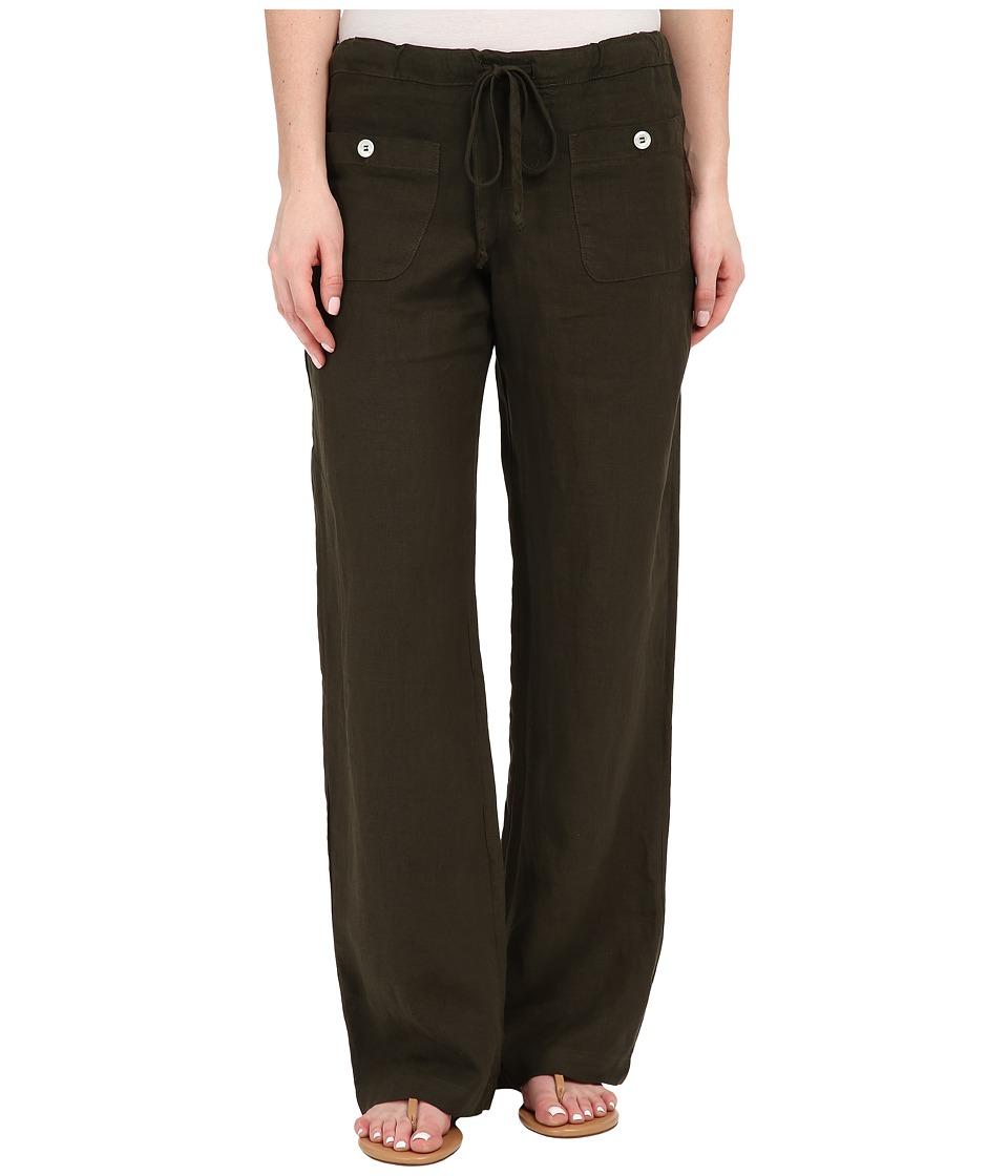 Allen Allen - Linen Long Pant LL9497 (Dark Olive) Women's Casual Pants