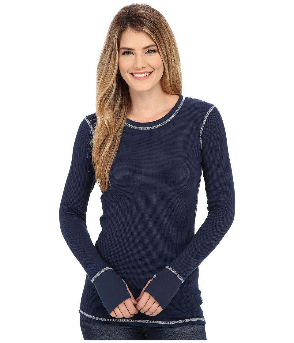 Allen Allen - L/S Thumbhole Tee Thermal Crew (Sea Blue) Women's Long Sleeve Pullover