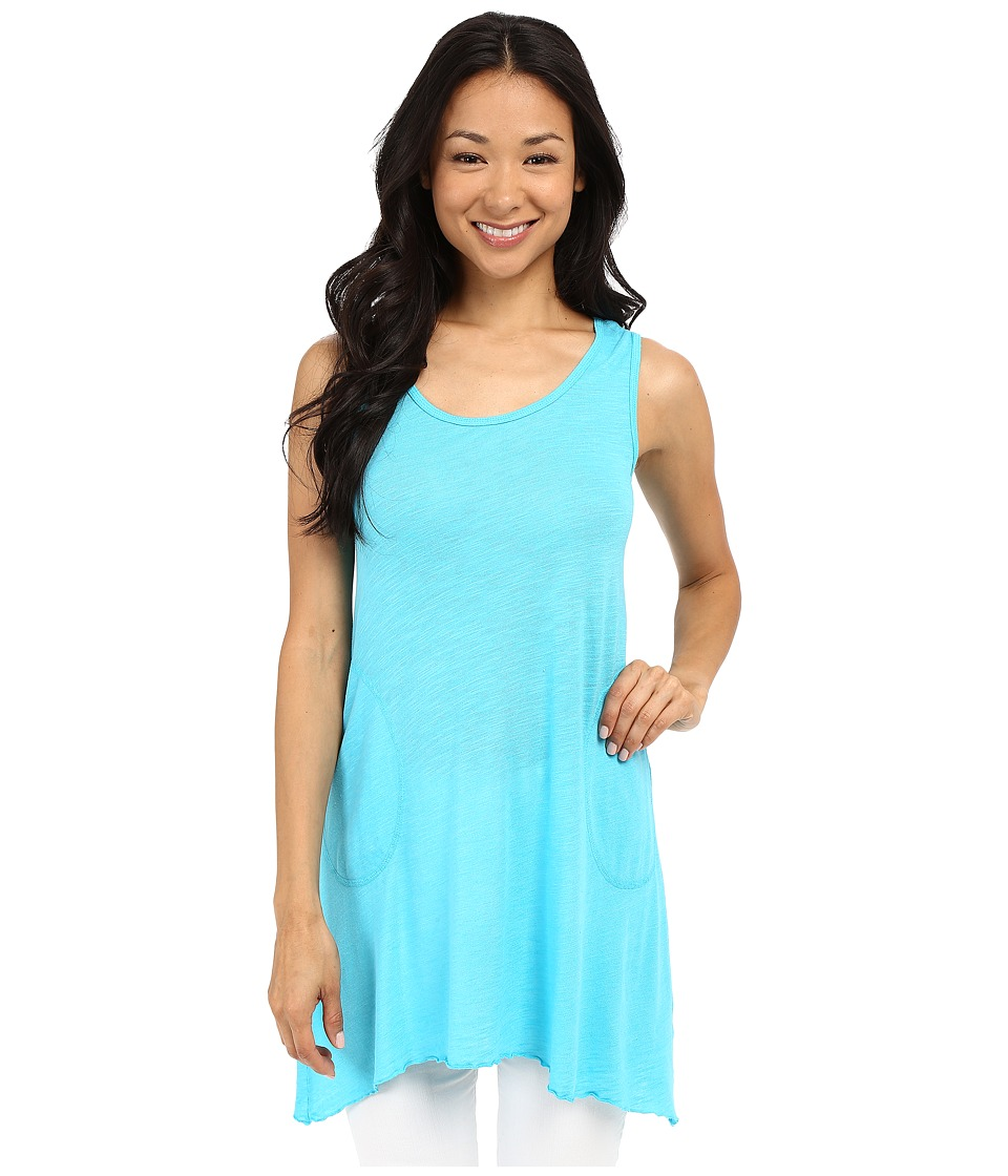 Allen Allen - Scoop Neck Angled Tunic (Sea Blue) Women's Sleeveless