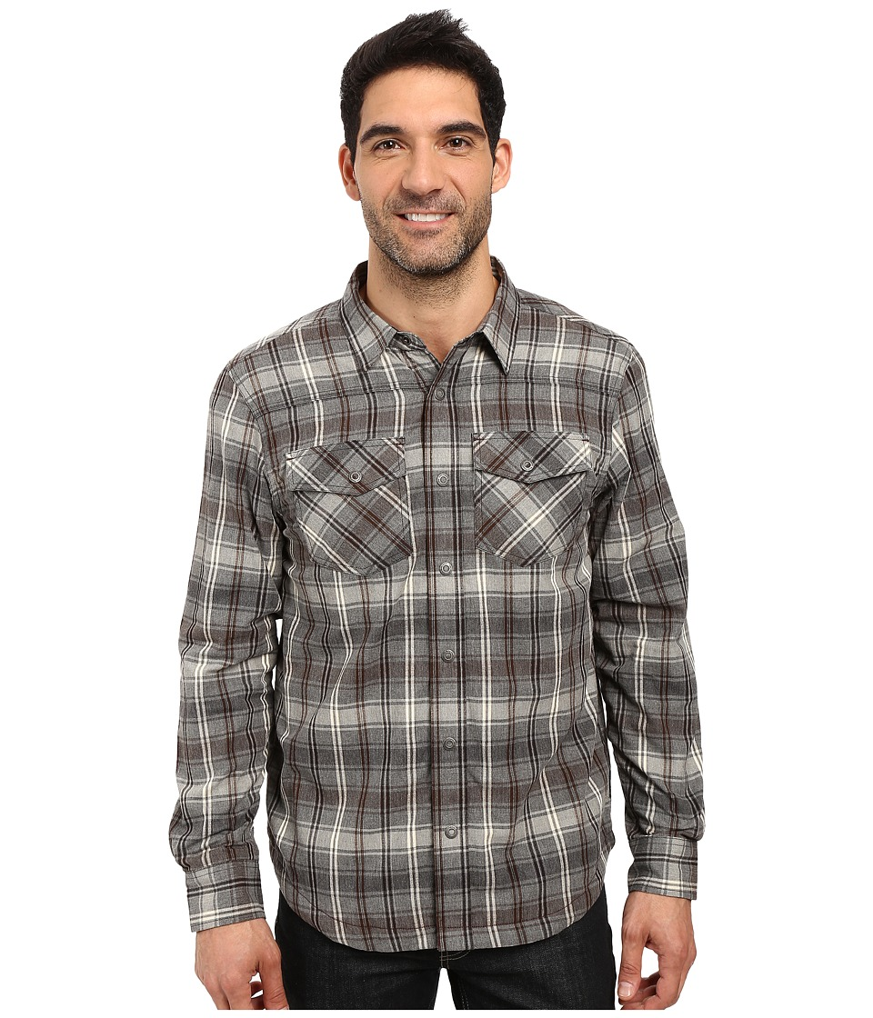 Prana - Asylum Flannel (Gravel) Men's Long Sleeve Button Up