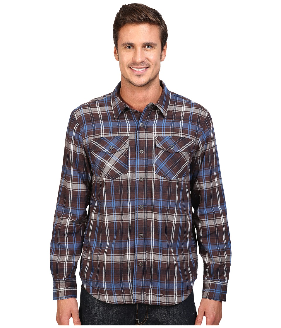 Prana - Asylum Flannel (Raisin) Men's Long Sleeve Button Up