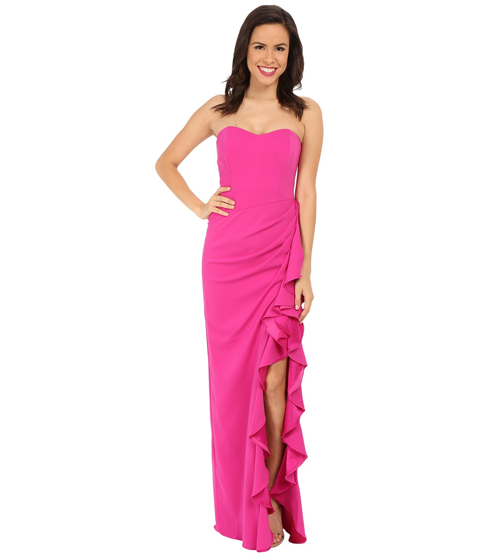 Badgley Mischka - Color Block Ruffle Gown (Fuchsia) Women's Dress