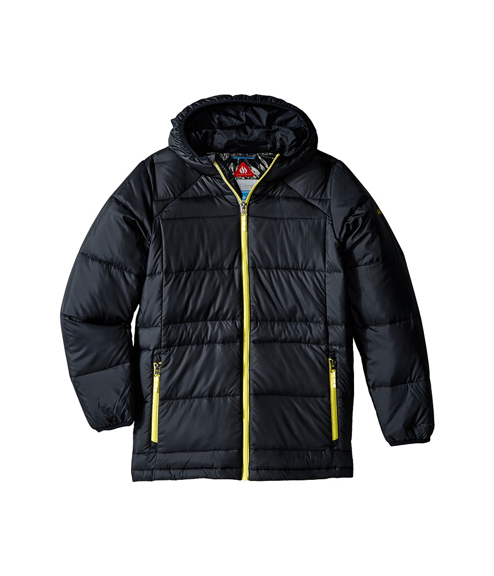 Columbia Kids - Gold 550 Turbodown Hooded Jacket (Little Kids/Big Kids) (Black/Mineral Yellow) Boy's Jacket