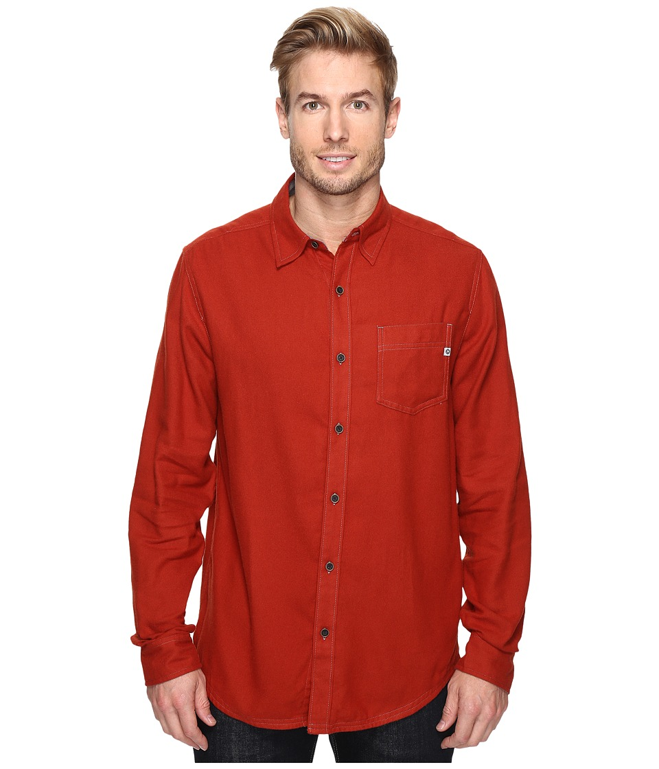 Marmot - Hobson Flannel Long Sleeve Shirt (Dark Rust Heather) Men's Long Sleeve Button Up