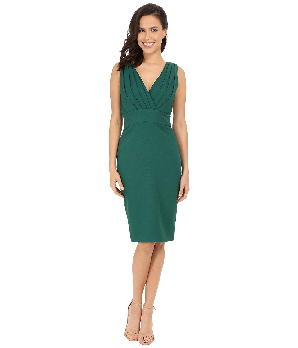 Badgley Mischka - Pleated Front Sheath Dress (Emerald) Women's Dress