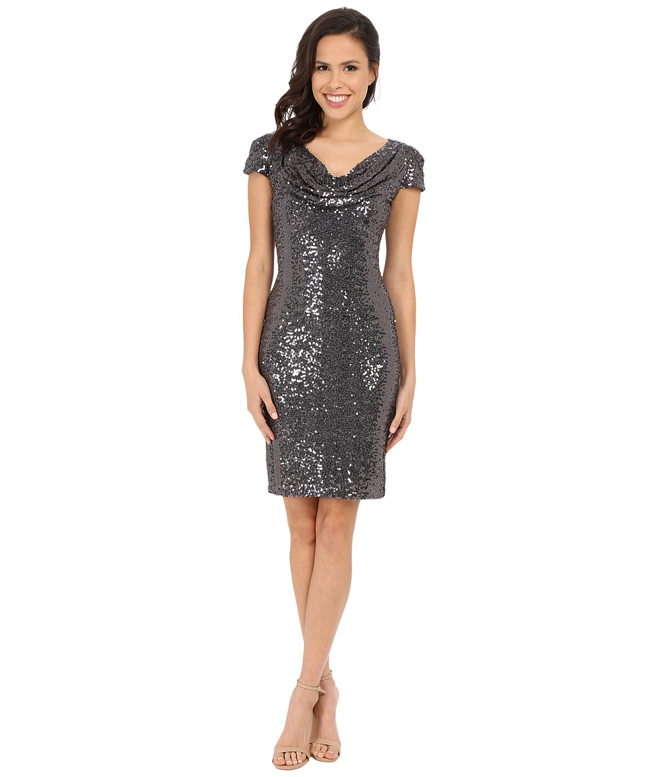 Badgley Mischka - Cocktail Cowl Front Dress (Charcoal) Women