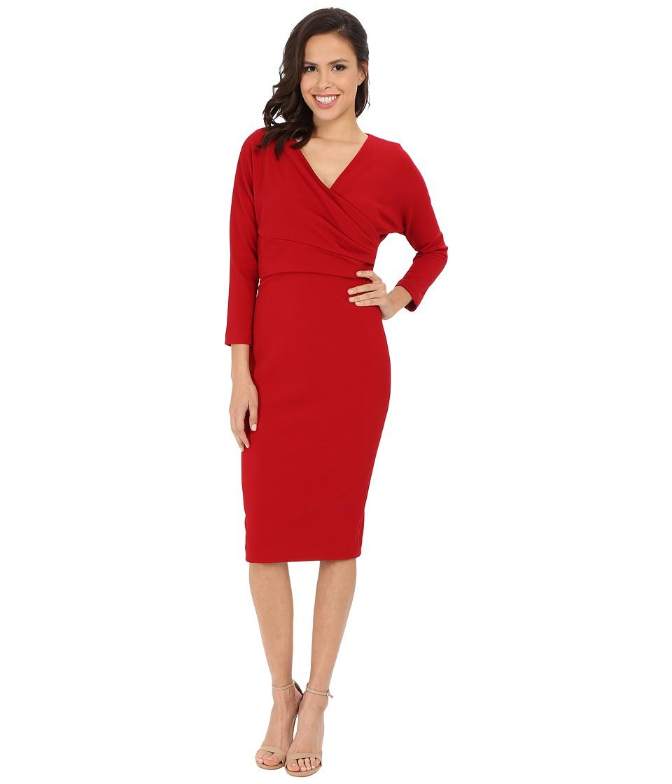 Badgley Mischka - Cross Over Sheath Dress (Cranberry) Women's Dress