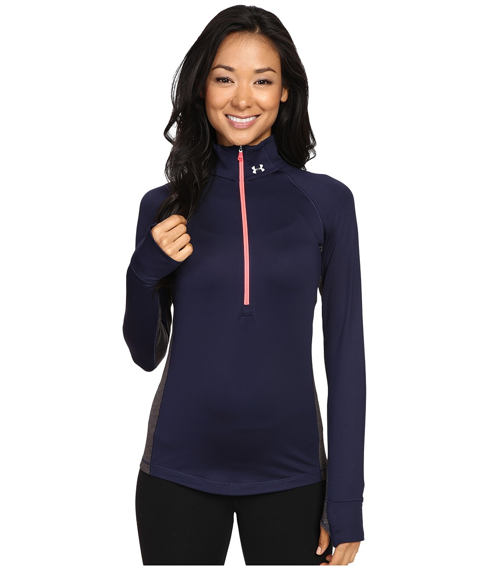 Under Armour - UA Coldgear(r) Armour 1/2 Zip (Midnight Navy/Carbon Heather/Metallic Silver) Women's T Shirt