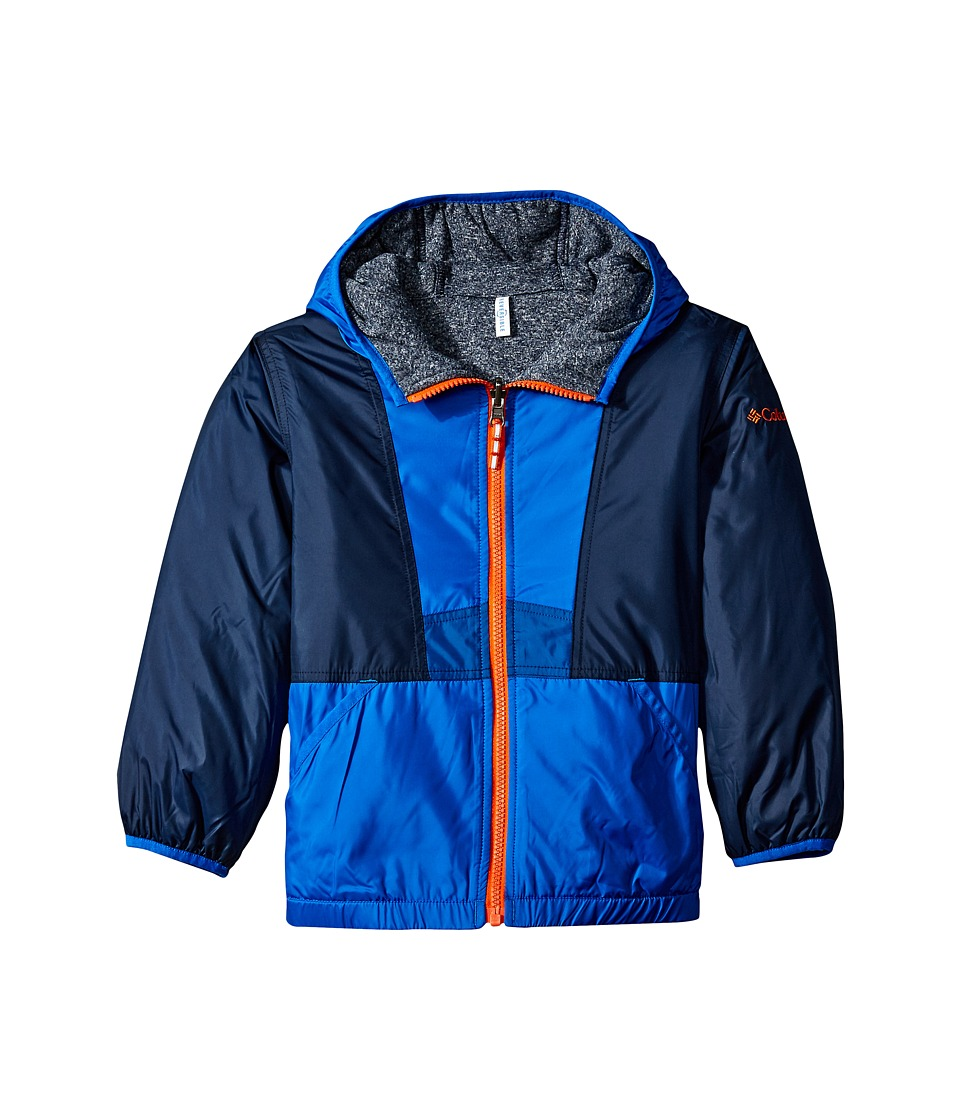 Columbia Kids - Flashback Insulated Jacket (Little Kids/Big Kids) (Super Blue/Collegiate Navy Heather/Marine Blue/Tangy Orange) Boy's Coat