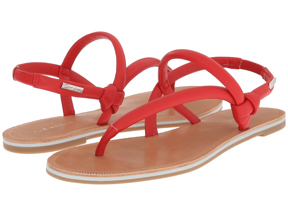 Calvin Klein - Alisia (Lipstick Red Leather) Women's Sandals