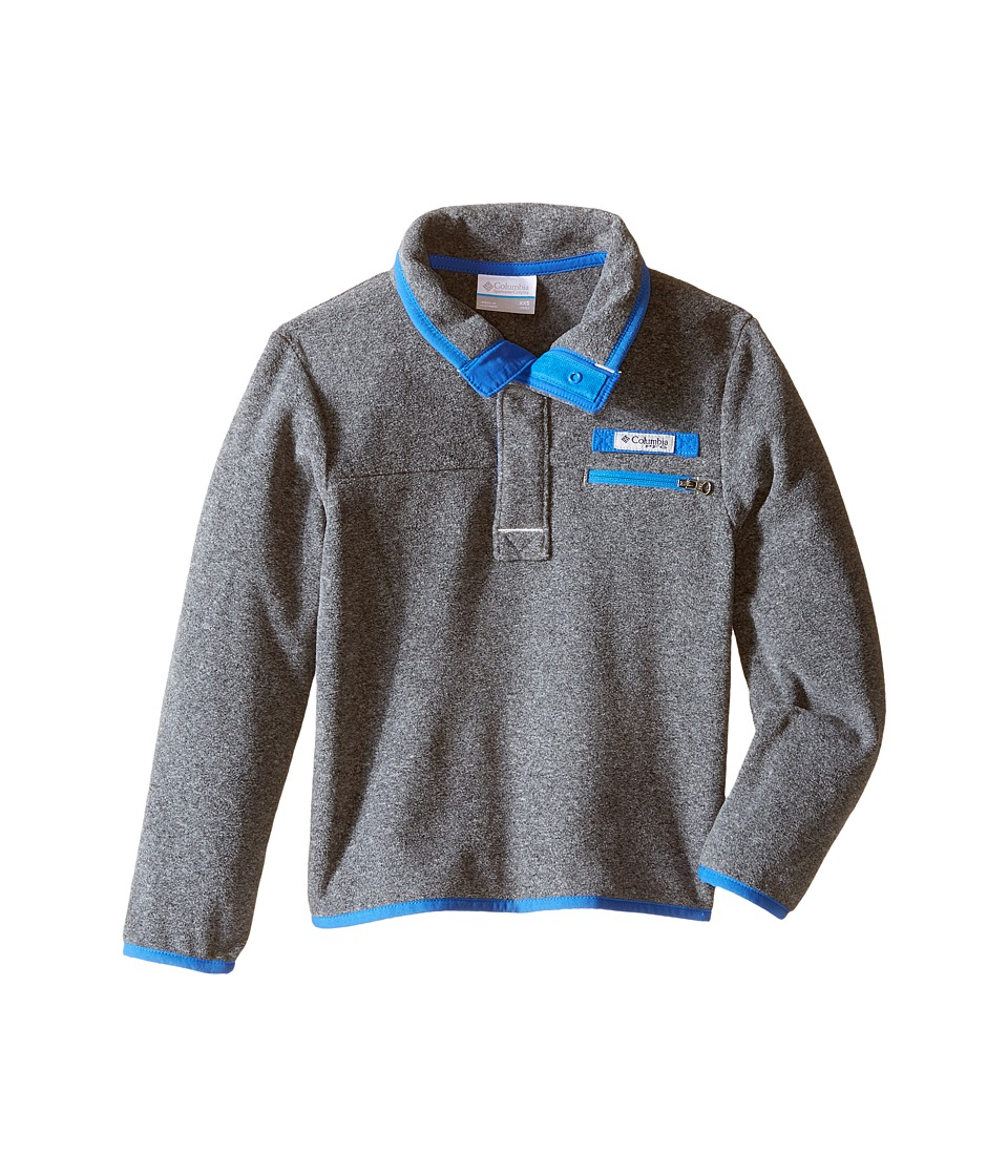 Columbia Kids - Harborside Fleece (Little Kids/Big Kids) (Cool Grey Heather/Vivid Blue) Boy's Long Sleeve Pullover