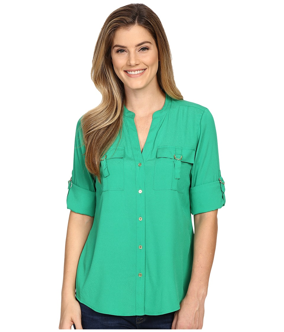 Calvin Klein - Solid D-Ring Roll Sleeve (Grass) Women's Blouse