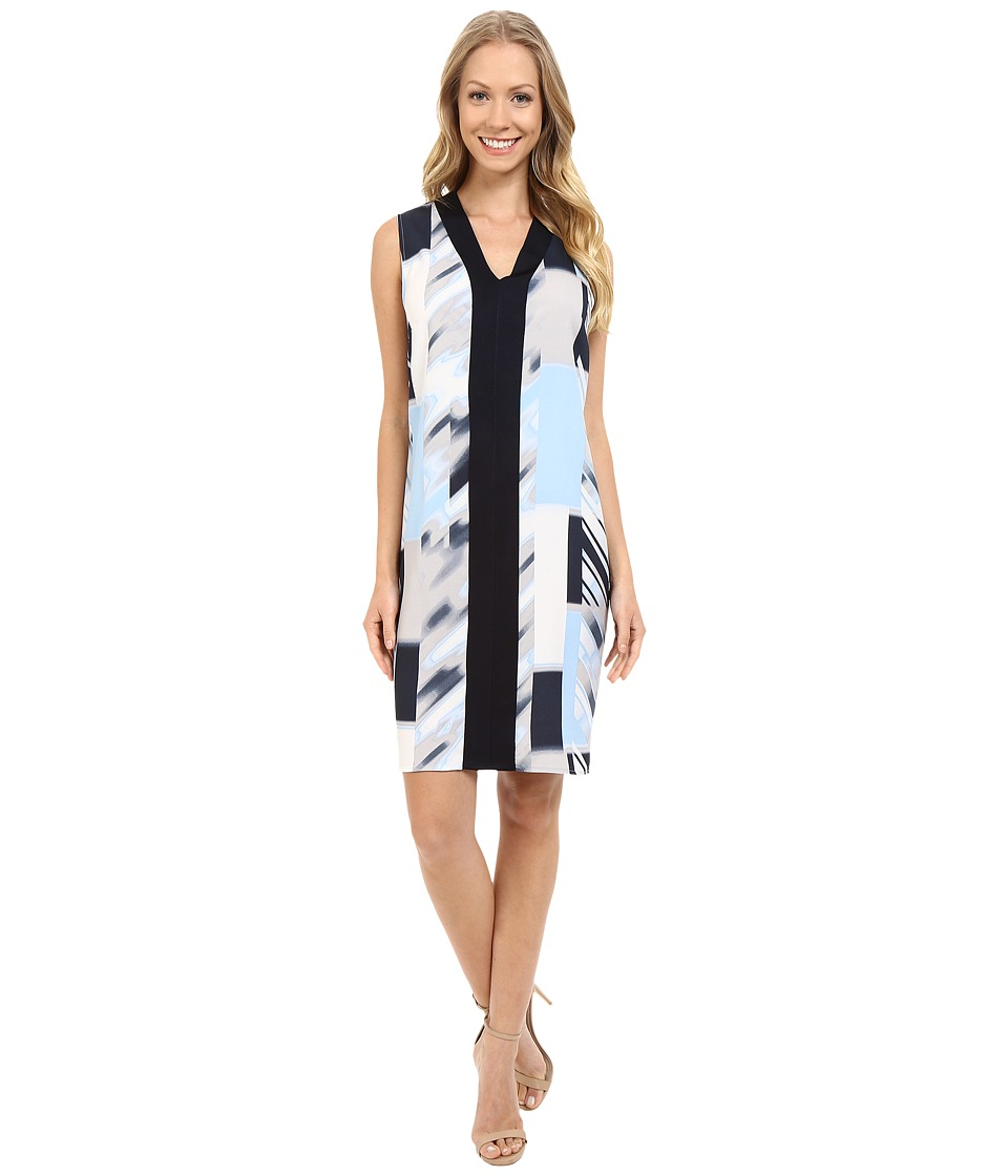 Calvin Klein - Woven Front Sweater Trim Dress (Black/Iceburg/Twlight) Women's Dress