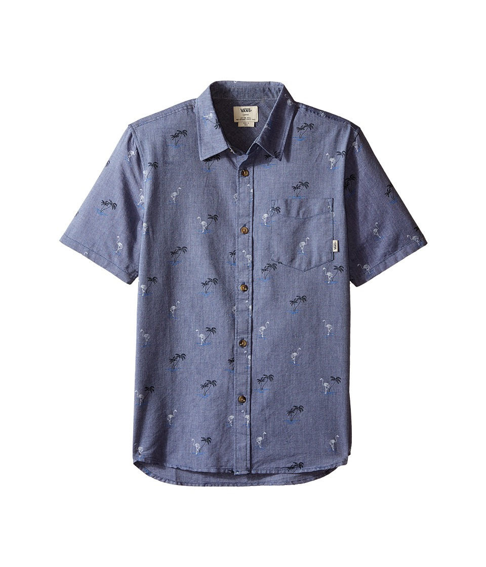 Vans Kids - Houser S/S (Big Kids) (Blue Print Flocking Dead) Boy's Short Sleeve Button Up