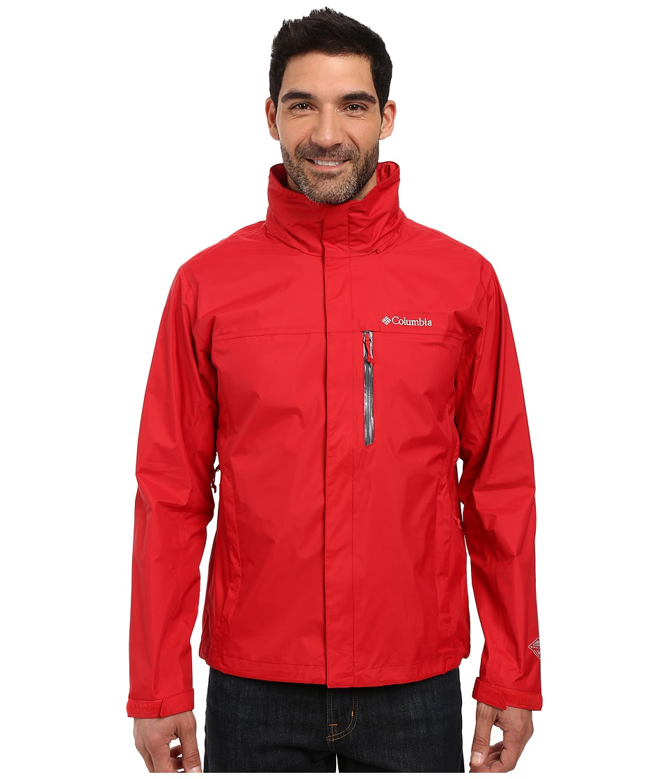 Columbia - Pouration Jacket (Mountain Red/Pond) Men's Coat