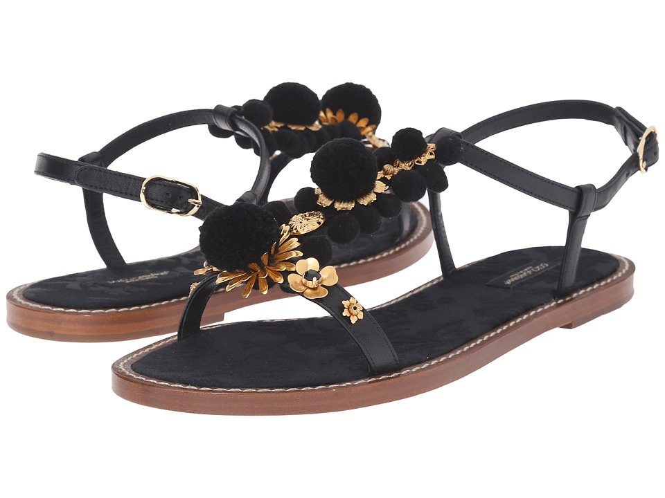 Dolce & Gabbana Flat Sandals (Nero/Multi) Women