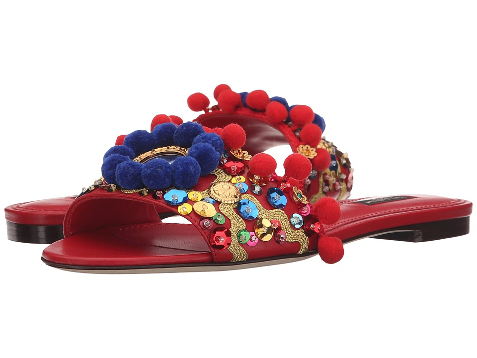 Dolce & Gabbana - Flat Sandals (Rosso/Multi) Women's Sandals