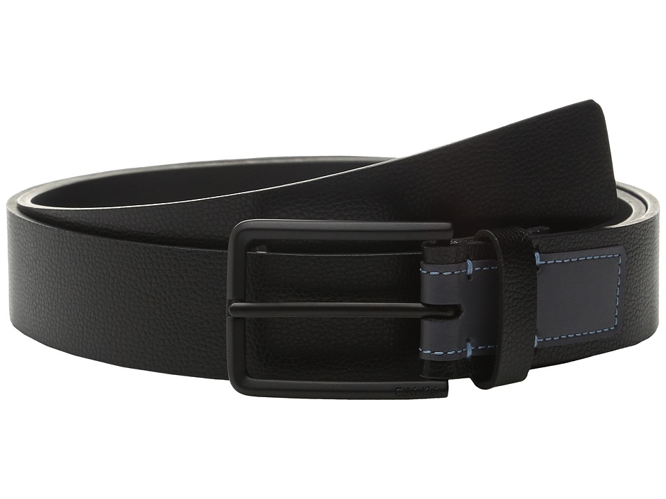Calvin Klein - 35mm Flat Strap Caviar Grain Belt with Smooth Contrast Color Tab (Black/Grey) Men's Belts