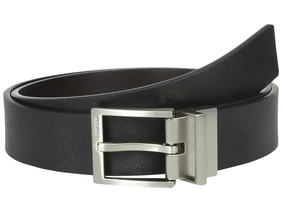 Calvin Klein - 32mm Reversible Flat Strap with Harness Buckle (Black/Chocolate) Men's Belts