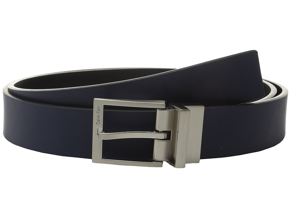 Calvin Klein - 32mm Reversible Flat Strap with Harness Buckle (Ink/Black) Men's Belts