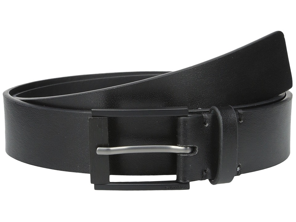 Calvin Klein - 35mm Flat Strap with Matte Powder Coated Harness Buckle and Wood Nose (Black) Men's Belts