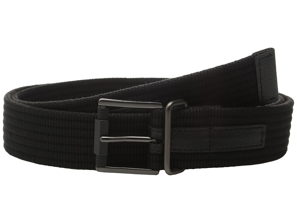 Calvin Klein - 38mm Webbing Strap on Harness Buckle with Textured Roller (Black) Men's Belts
