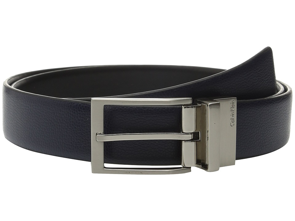 Calvin Klein - 35mm Reversible Feather Edge Belt with Harness Buckle (Ink/Black) Men's Belts