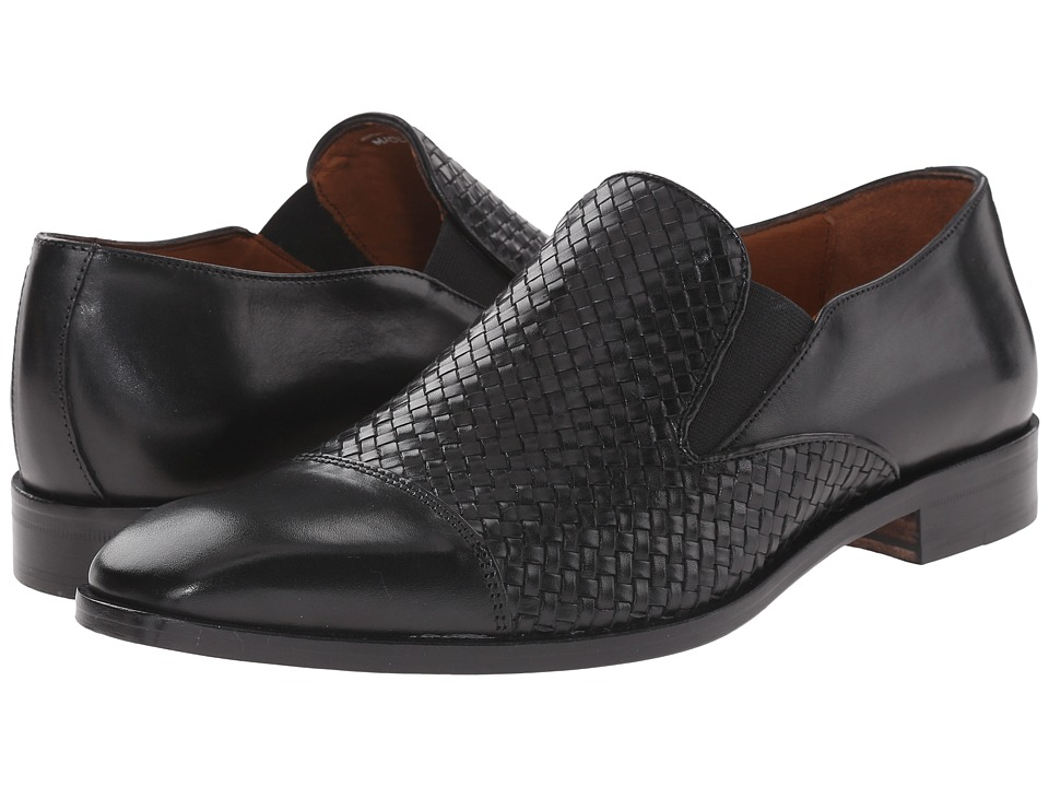 Massimo Matteo Woven Cap Toe Loafer (Black) Men