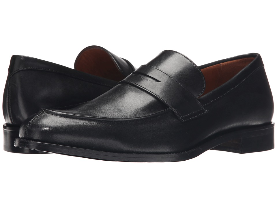 Massimo Matteo - Mocc Split Penny Loafer (Black) Men's Slip on Shoes
