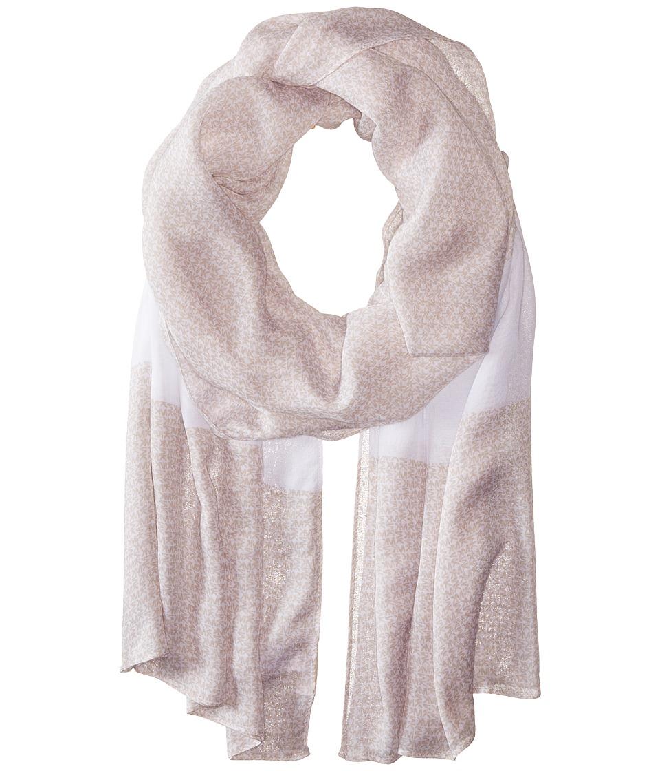 MICHAEL Michael Kors - Aberdine Logo Oblong (Sand/White) Scarves