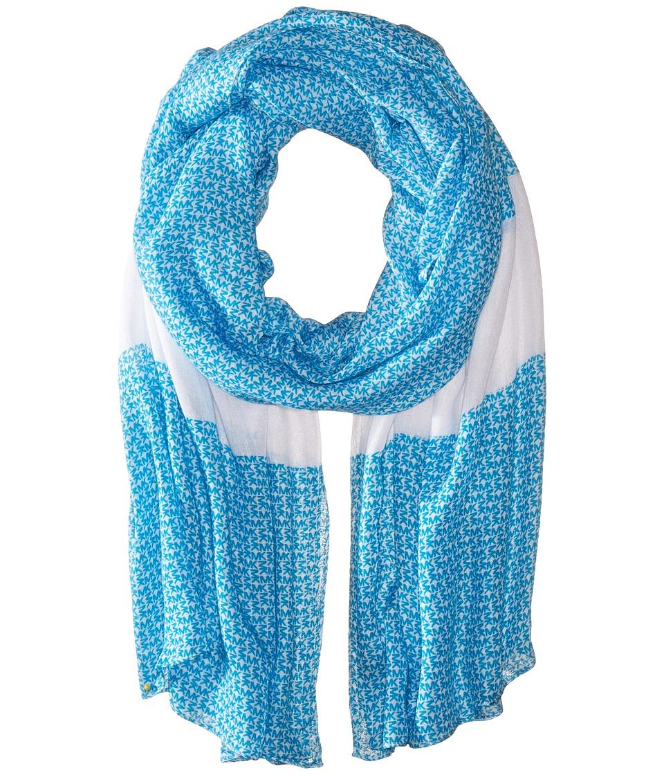 MICHAEL Michael Kors - Aberdine Logo Oblong (Santorini Blue/White) Scarves